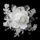 Rhinestone, Crystal, Lace, Satin & Organza Flower Clip 2705