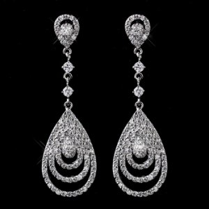 Antique Silver Clear CZ Crystal Drop Earrings 8977