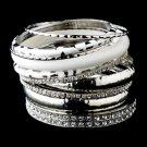 Silver & White Rhinestone Animal Print Stackable Bracelet Set 8868