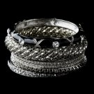 Silver & Black Rhinestone 6 Piece Bangle Bracelet Set 8869