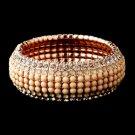 Rose Gold Champagne Rhinestone Stretch Bracelet 8878
