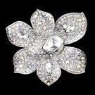 Antique Silver Clear & AB Rhinestone Brooch 8799
