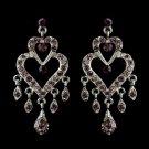 Antique Silver Amethyst Rhinestone Heart Chandelier Bridal Earrings 8689