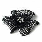 Black Clear Rhinestone Flower Brooch 168