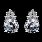 E 2499 Silver Clear Round CZ Crystal Stud Earrings 2499