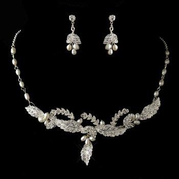 Silver Freshwater Pearl & Rhinestone Leaf Necklace & Earrings Jewelry Set 8155