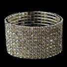 10 Row Silver Clear Rhinestone Stretch Bracelet 4016