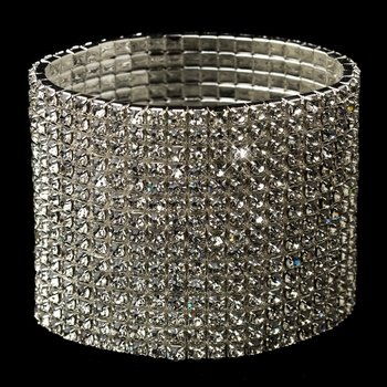 15 Row Silver Clear Rhinestone Stretch Bracelet 4017