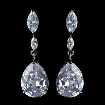 Silver Clear CZ Crystal Marquise & Teardrop Earrings 40261