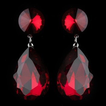Antique Rhodium Silver w/ Large Burgundy Teardrop Earrings 40698