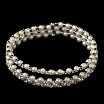 Rhodium Rhinestone & White Pearl 3 Row Coil Stretch Bracelet 1424