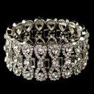 Rhodium Clear Rhinestone Stretch Bracelet 4110
