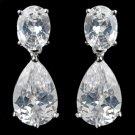 Rhodium Clear Pear & Oval Cut CZ Drop Earrings