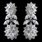 Rhodium Clear Multi Cut CZ Floral Drop Earrings