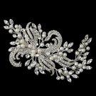 Silver Diamond White Pearl & Rhinestone Hair Vine Clip