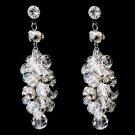 Antique Rhodium Silver Clear Swarovski Crystal Bead Earrings 9866