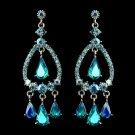 Silver Turquoise AB Crystal & Rhinestone Chandelier Bridal Earrings 8686