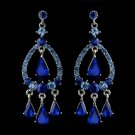 Silver Blue Sapphire Crystal & Rhinestone Chandelier Bridal Earrings 8686