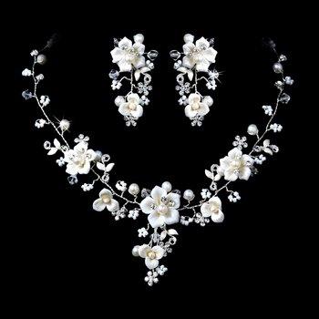 Beautiful Silver Crystal, Porcelain & Pearl Bridal Jewelry Set NE 1014