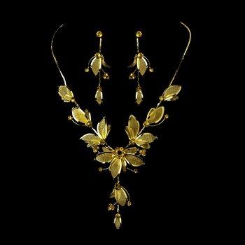 Necklace Earring Set NE 8280 Gold Topaz