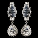 Rhodium Clear Teardrop CZ Crystal Drop Earrings 9739