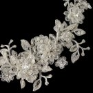 HP 1265 Ivory Lace Flexible Bridal Hair Applique Accented with Rhinestones, Crystals & Sequence