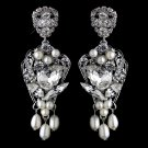 Antique Rhodium Silver Clear Rhinestone & Freshwater Pearl Accent Drop Earrings 9864