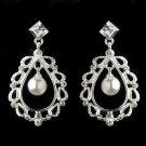 Silver White Pearl & Rhinestone Chandelier Earrings 26599