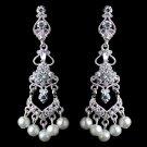 Silver Diamond White Pearl & Rhinestone Chandelier Clip-on Earrings