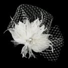 Rhinestone & Crystal Bead Feather Flower Fascinator Hair Clip with Russian Tulle 2542