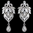 Rhodium Clear Marquise & Teardrop CZ Drop Earrings 9219