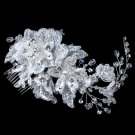 Silver Ivory Lace, Rhinestone, Bead & Swarovski Crystal Floral Comb