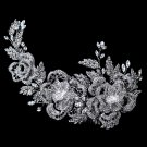Rhodium Clear Rhinestone Floral Rose Side Accented Comb