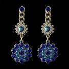 Rhodium Blue & AB Flower Rhinestone Dangle Bridal Wedding Earrings 82044