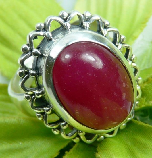 51ct Red Onyx Sterling Silver Ring  (size 10)