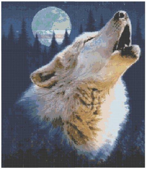 Howling Wolf Cross Stitch E-Pattern