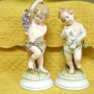Cherub Figurines From Andrea By Sadek #7064 8 1/2 Inches Tall Bisque Porcelain