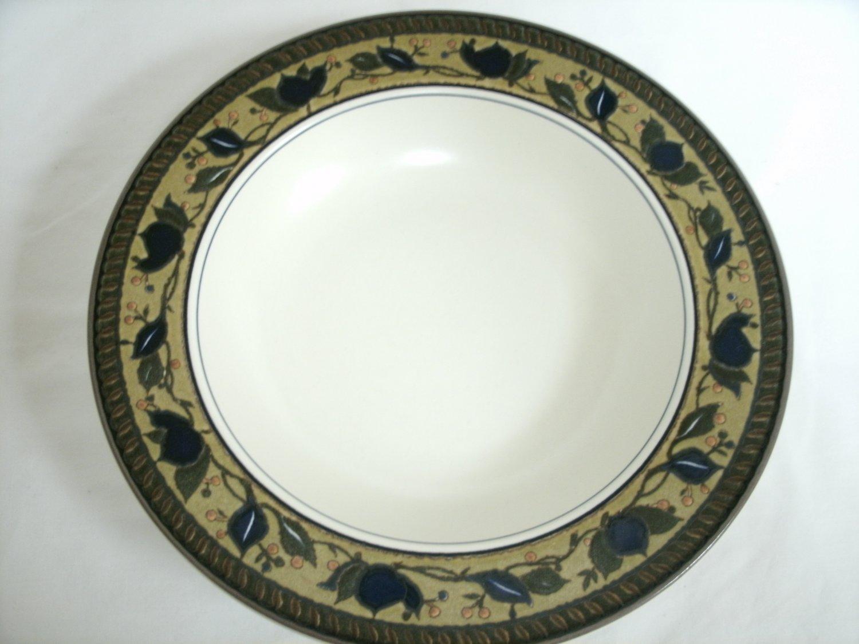 Mikasa Intaglio Arabella Large Rim Soup Bowl Beige and Blue Stoneware With Leaf Design 9 3/8 Inches