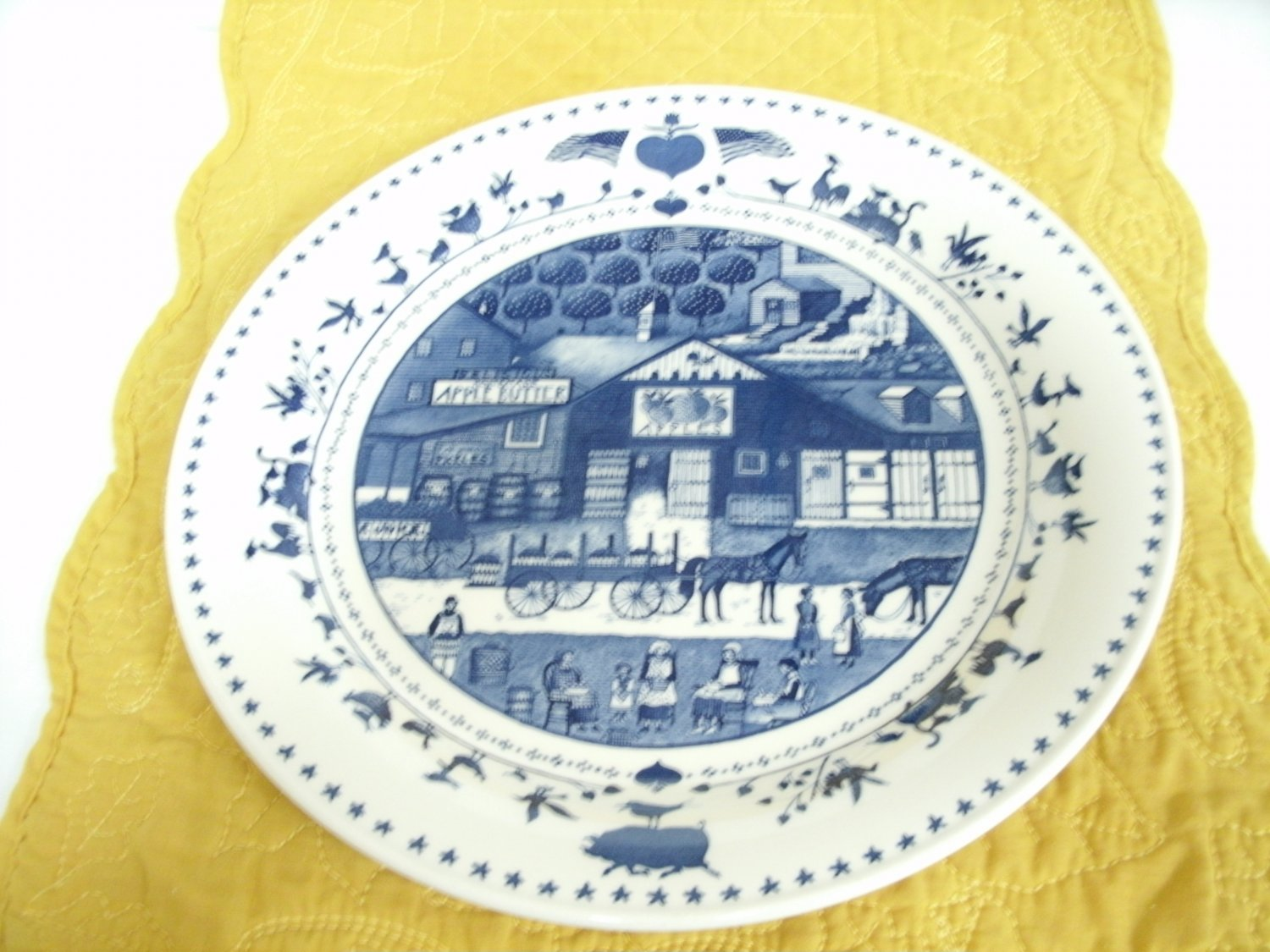 America For All Seasons by Nikko Set of 4 Large Dinner Plates 10 3/4 Inches in Blue and White Colors