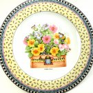 Salad Plate Spring Bouquet Yellow and Pink Flowers 8 1/4 Inches Debbie Mumm Sakura 1999