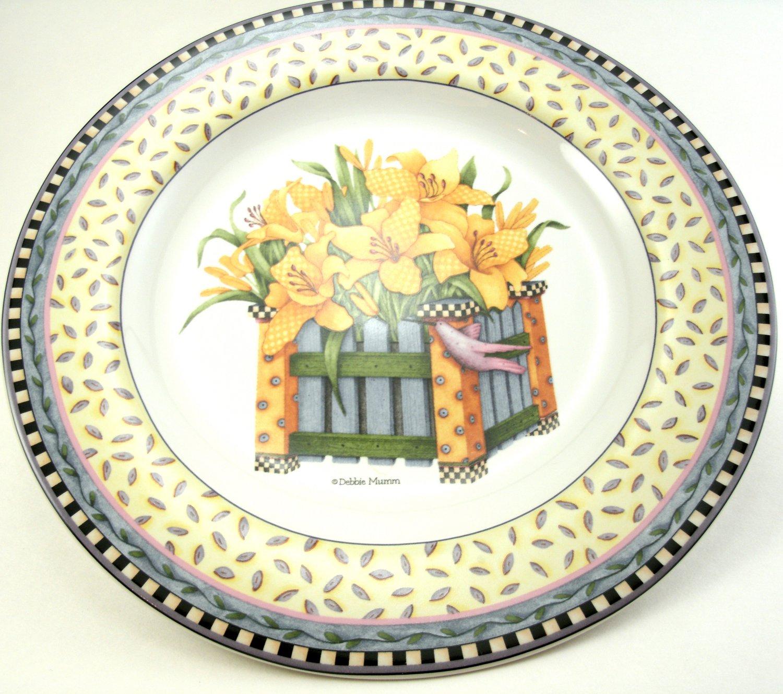 Debbie Mumm's Yellow Daffodils Spring Bouquet Salad Plate 8 1/4 Inches Sakura 1999