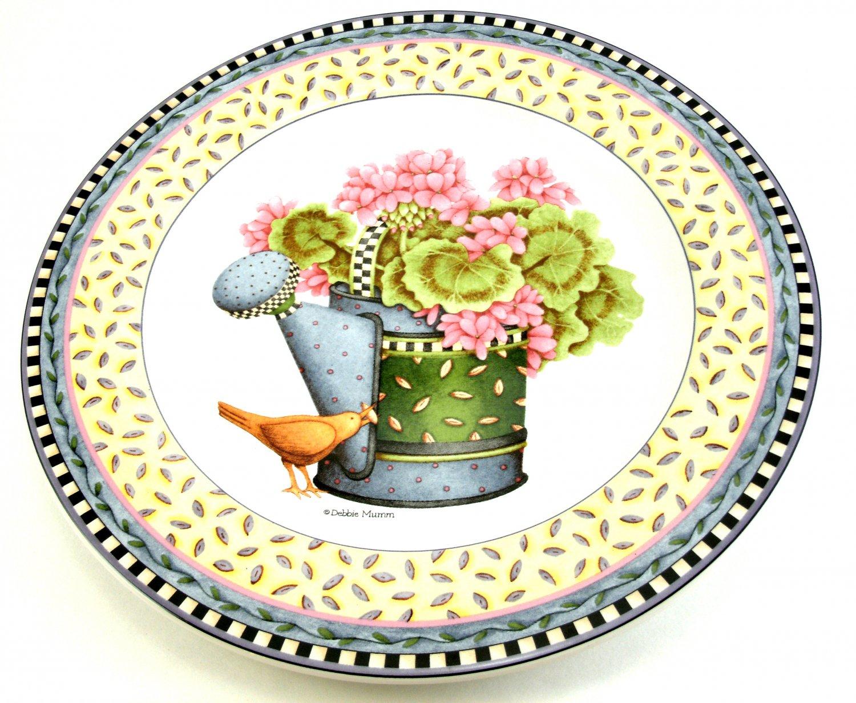 Salad Plate Debbie Mumm's Spring Bouquet Watering Can Design 8 1/4 inches Sakura 1999