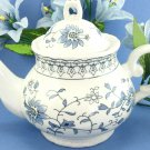 China Teapot White with Blue Flower Design 7 Inches Tall