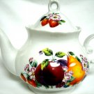 China Teapot White with Fruit and Flower Design 7 Inches Tall