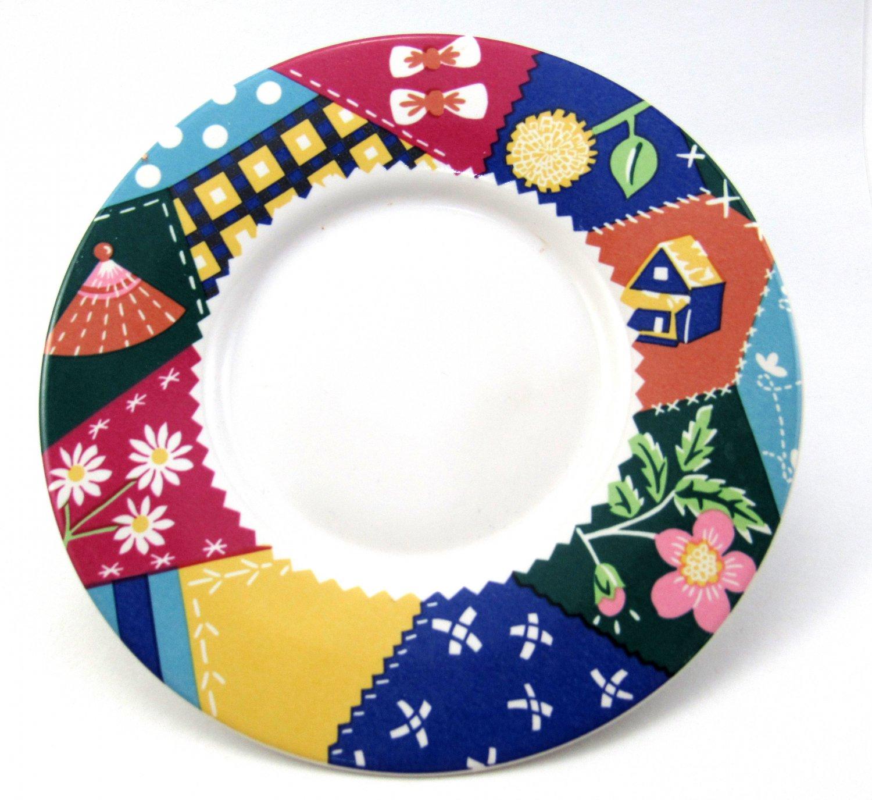 Saucer In Crazy Quilt Number 103 Design 6 1/4 Inches International  Tableworks Quilt Design