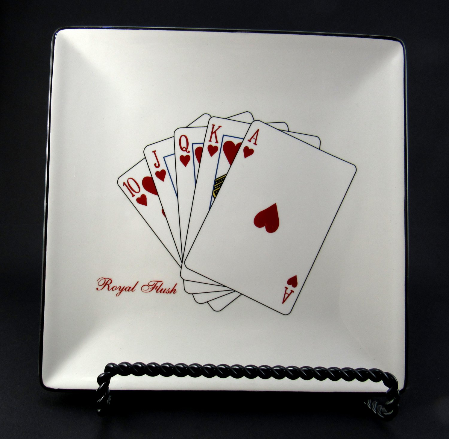 American Atelier Square Casino Royale Salad Plate Playing Card Design 7 1/2 Inches