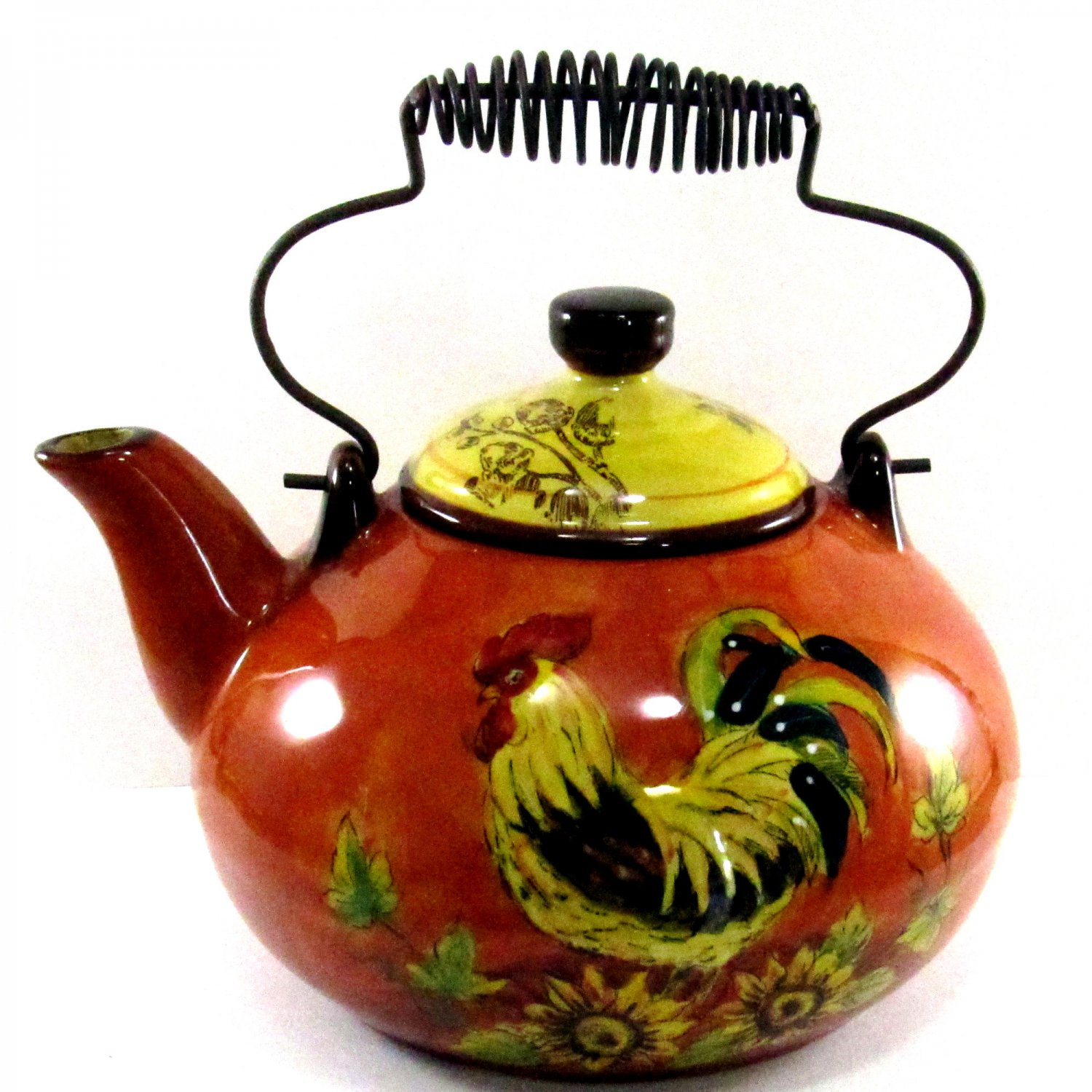 SOLD Orange Rooster Teapot by Maxcera 9 Inches Tall Wire Handle Orange with Sunflowers