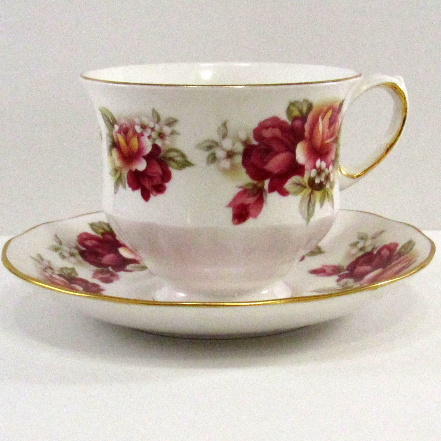 Queen Anne Tea Cup and Saucer #8541 Bone China Ridgeway Potteries England Red and Pink Roses Vintage