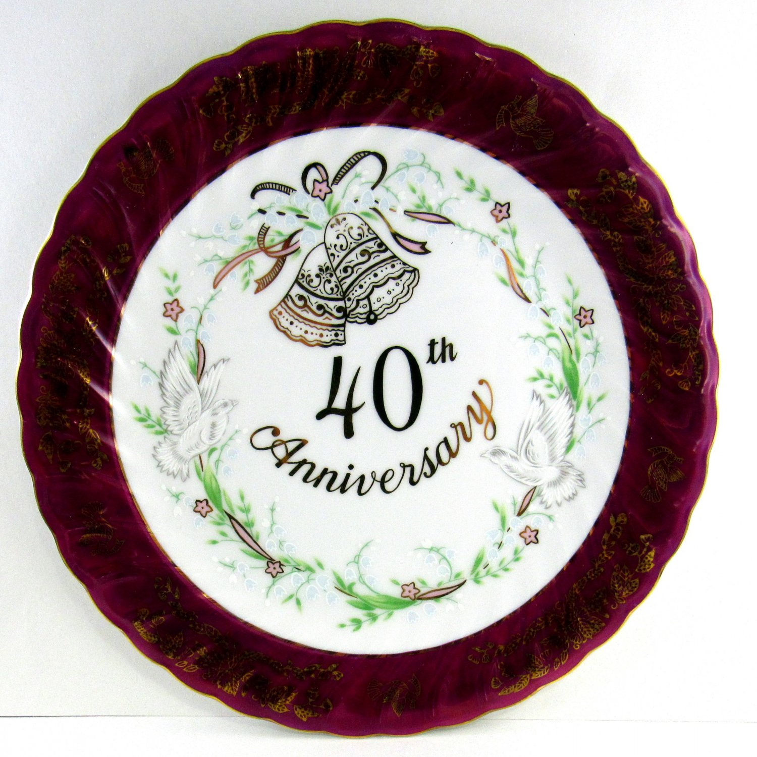 "Lefton China Plate 40th Anniversary 1983 MK 04706 Bells and Doves 10 1/4"" Maroon with Gold Trim"