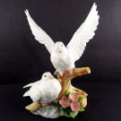 Lefton White Doves Figurine Number 06833 1988 Hand Painted Birds 5 3/4 Inches Nest Egg Collection